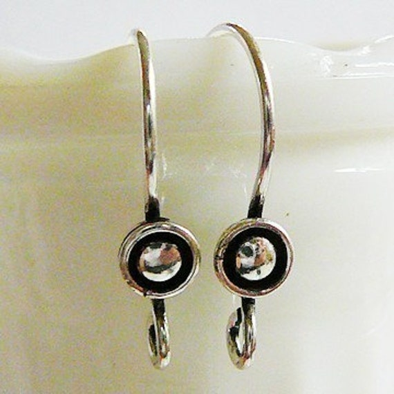 Sterling Silver Earwires with Circle, Antiqued Patina Accent, 1 Pair