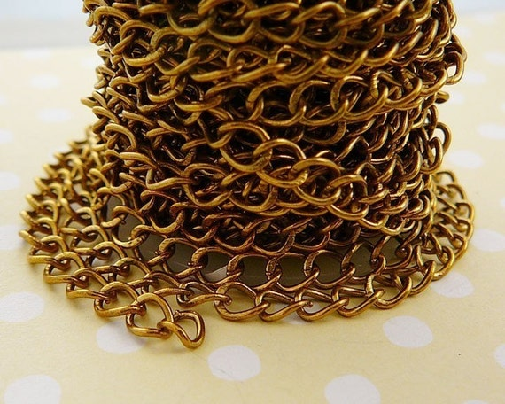 Antiqued Brass Chain, Cable, 5 ft. 4x6mm