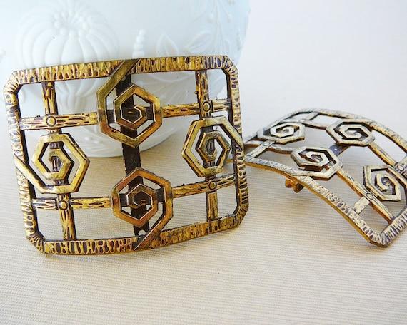 RESERVED .. Vintage .. SINGLE Antique Shoe Buckle, France, Brass Swirls over Grid,