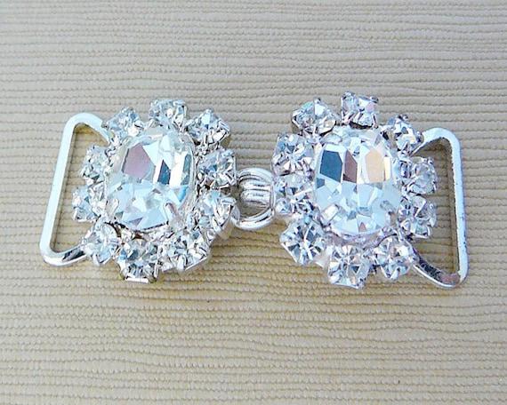 Vintage ..Rhinestone Buckle, Clear, 2 Part, Link, Silver Tone, Ice, Wedding, Bridal