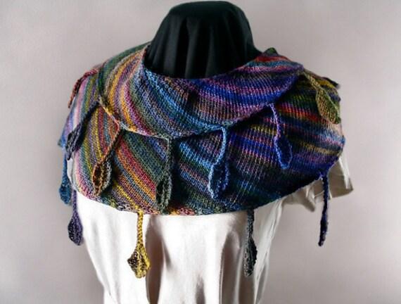 Drop Leaf Shawlette Hand Knitting Pattern, Instant Download