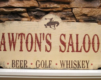 PERSONALIZED,  custom Saloon Bar sign, rustic bar sign, western shabby cottage handmade wooden, Father's day gift