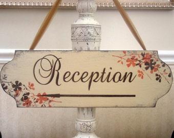 RECEPTION WEDDING sign, rustic wedding sign,  floral arrow sign, bridal custom colors sign