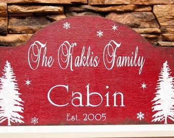 Winter rustic cabin sign, personalized family name sign, at the cabin sign, ski cottage sign, cabin decor