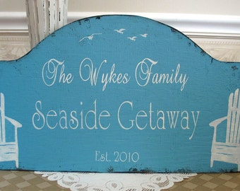 SEASIDE Getaway shabby sign,  Beach House sign, beach cottage sign, lake house sign, shabby custom shore sign
