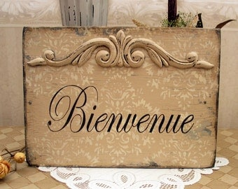 BIENVENUE Welcome Paris Apartment wooden hand painted,  French cottage style, French country sign, French country decor, rustic French sign