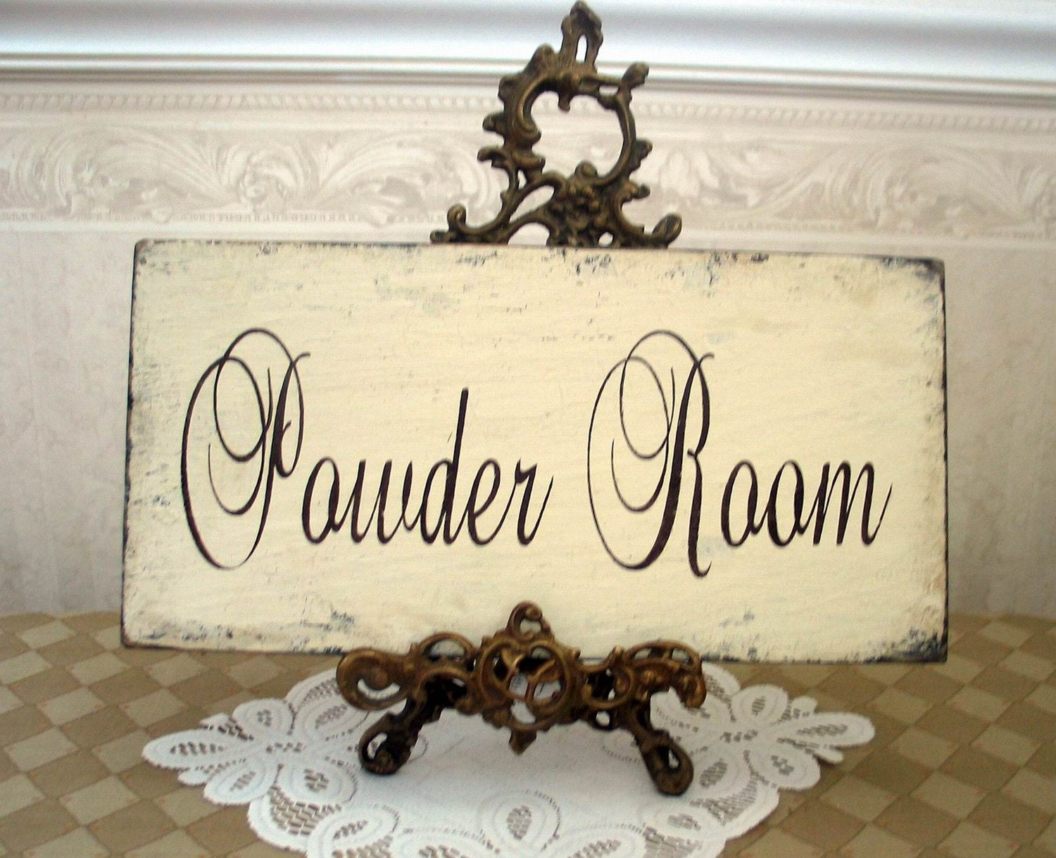 Powder Room Bath Shabby Cottage Vintage Style Sign