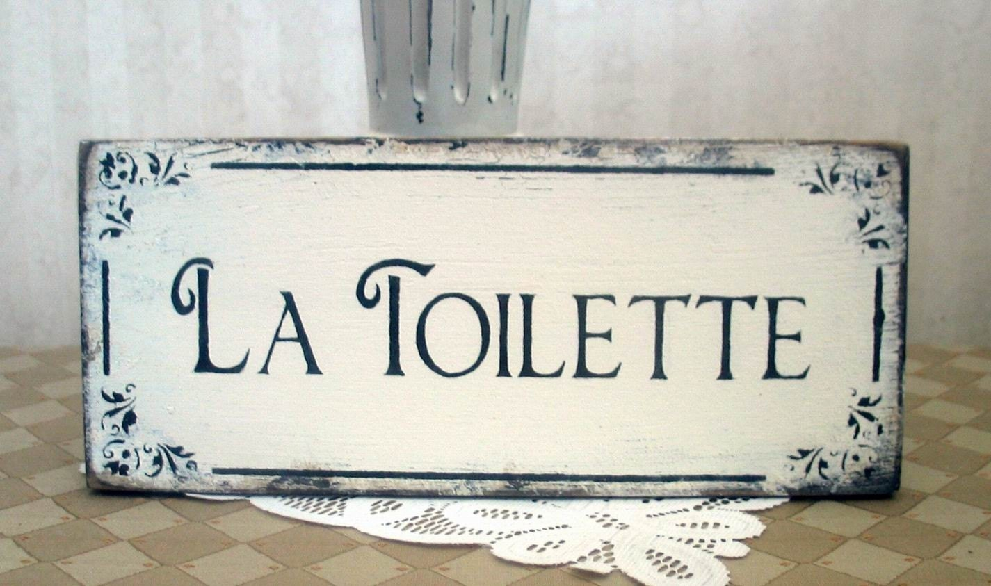 la toilette bath vintage styled shabby chippy sign. Black Bedroom Furniture Sets. Home Design Ideas