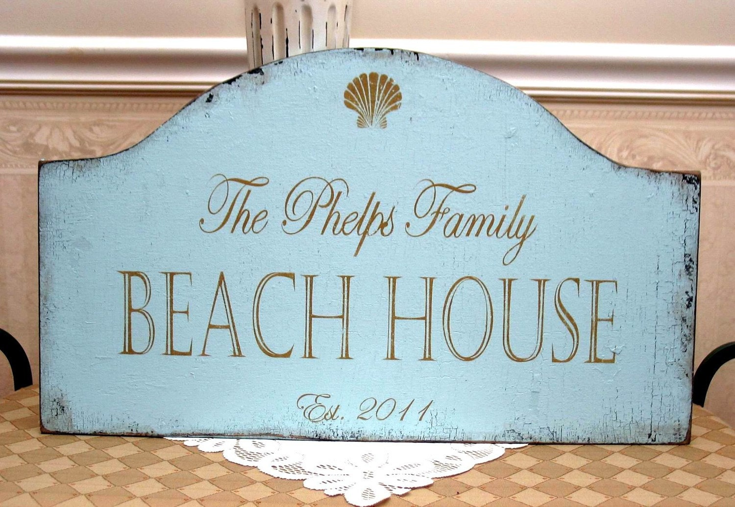 Personalized custom family lake or beach house shabby cottage for Custom beach house