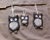 Owl Ornament Family from felted sweaters