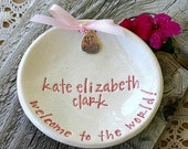 New Baby Keepsake Dish - Ceramic Birth Announcement - Welcome to the World New Baby Personalized Birth Plate
