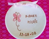 New Baby Butterfly Keepsake Dish Personalized and Dated - Ceramic Birth Announcement - New Baby Gift - New Mommy Gift