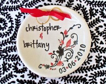 Custom Ring Bearer Bowl - Personalized & Dated Keepsake - Elegant Flowing Leaves - Ring Pillow - Pillow Alternative - Ring Warming Ceremony