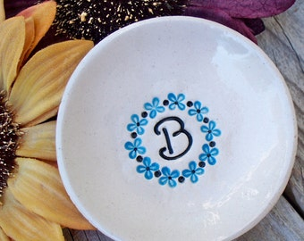 Monogram Ring Dish with Flower Wreath - Unique Gift for Bridesmaids, Flower Girls or Best Friends