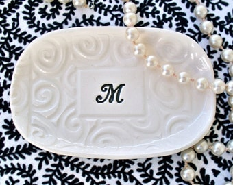 Monogrammed Tray, Ceramic Personalized Wedding Gift, Gift Dish, Wedding Memento, Elegant Monogram, Custom Wedding Tray