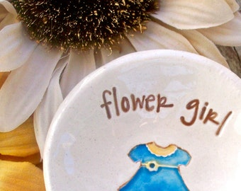 Personalized Flower Girl Gift - Ceramic Gift Dish with Little Dress Image for Flower Girls