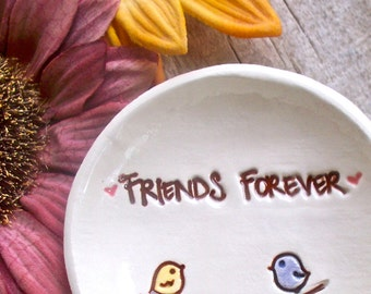 Best Friends Ceramic Ring Bowl with Little Birds - Ring Dish - Jewelry Dish - Trinket Holder - Jewelry Bowl