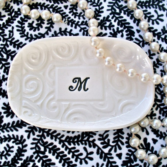 Monogrammed Ceramic Tray - Unique Wedding Gift with Elegant Texture and Personalized with Monogram