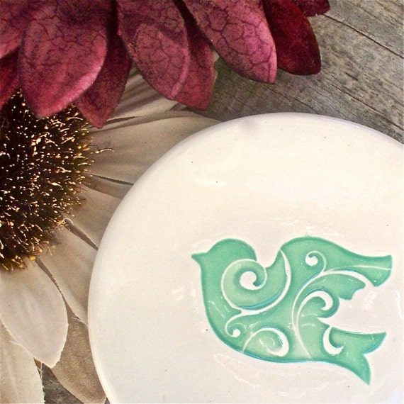 Ceramic Scripture Bowl - Inspirational Trinket and Jewelry Bowl with Jade Scroll Dove