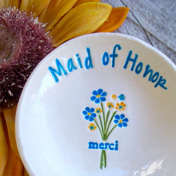 Personalized Maid of Honor Gift - Merci Bouquet Ring Dish for Maids and Matrons of Honor, Flower Girls & Bridesmaids