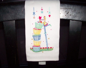 Tower of Cupcakes Kitchen Tea towel