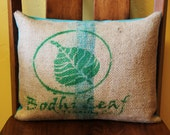 Coffee Sack Pillow Cover Decorative Upcycled Recycled Bodhi Leaf 12x16