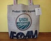 Coffee sack tote Upcycled USDA Organic Recycled