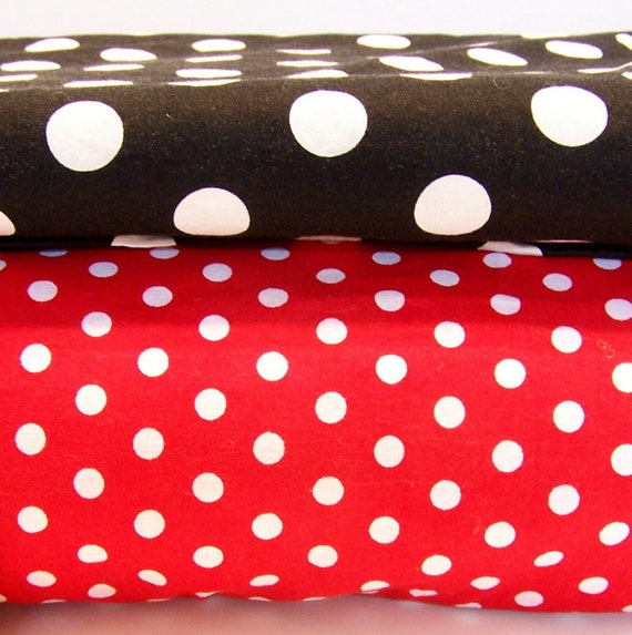 Cotton Fabric - Red and Black Polka Dots