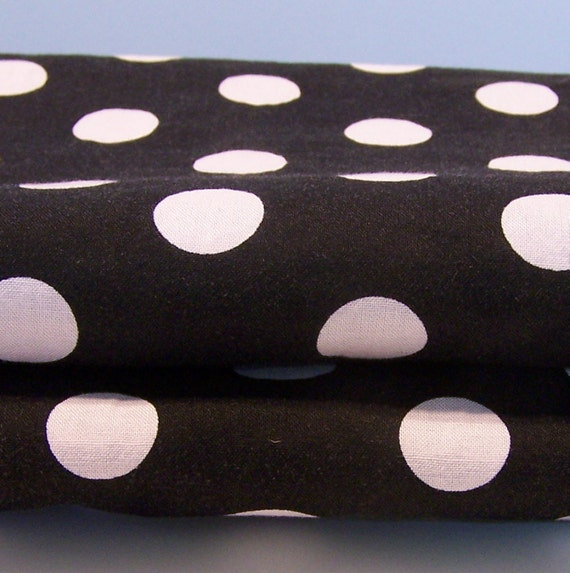 Cotton Fabric -Black with Almost White Polka Dots