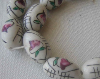 Hand Painted Ceramic Beads, Supplies, De-Stashing