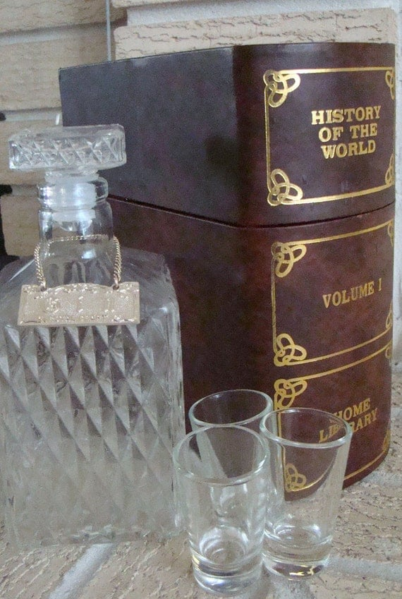 Vintage 70s Liquor Decanter Set And Shot Glass By
