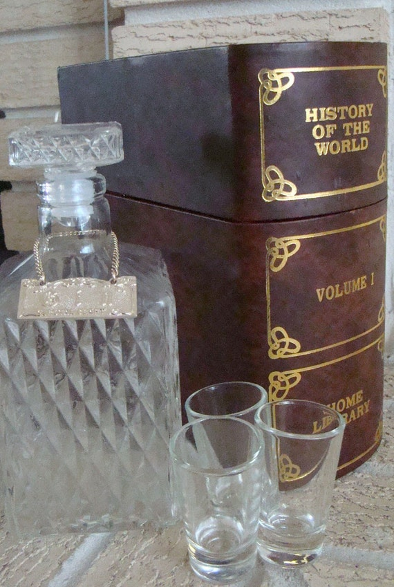 Vintage 70s Liquor Decanter Set and Shot Glass Set in Faux Book
