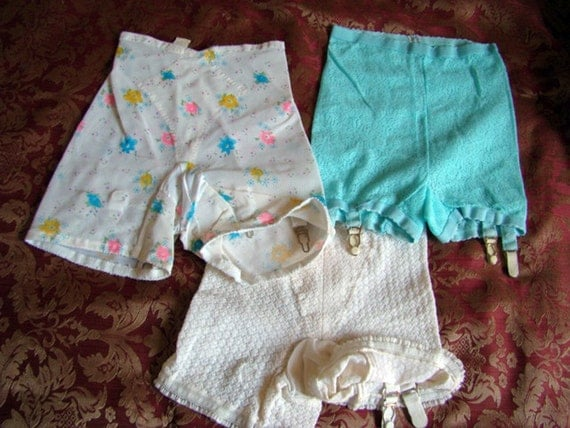 Vintage 50s Girls or Teens Panty Girdle with Garters Lot of 3
