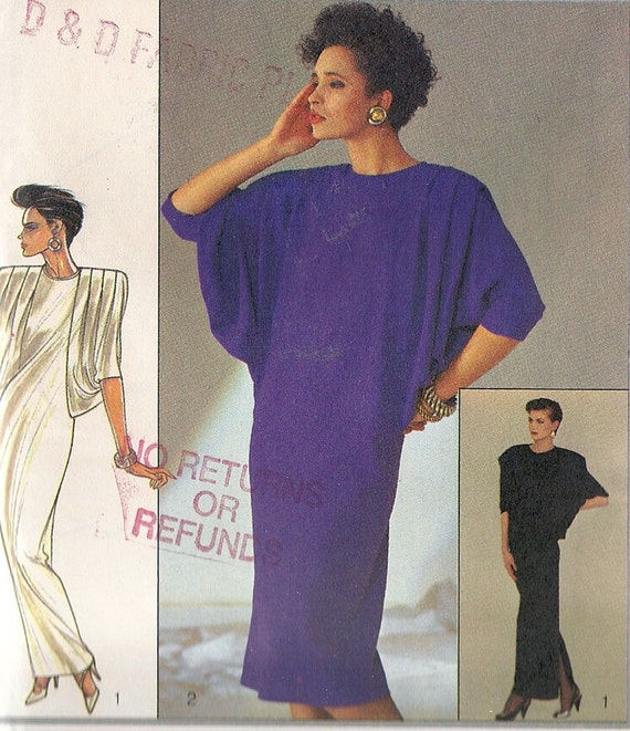 UNCUT Vintage 1980s Retro BATWING Dress Pattern Sz 12