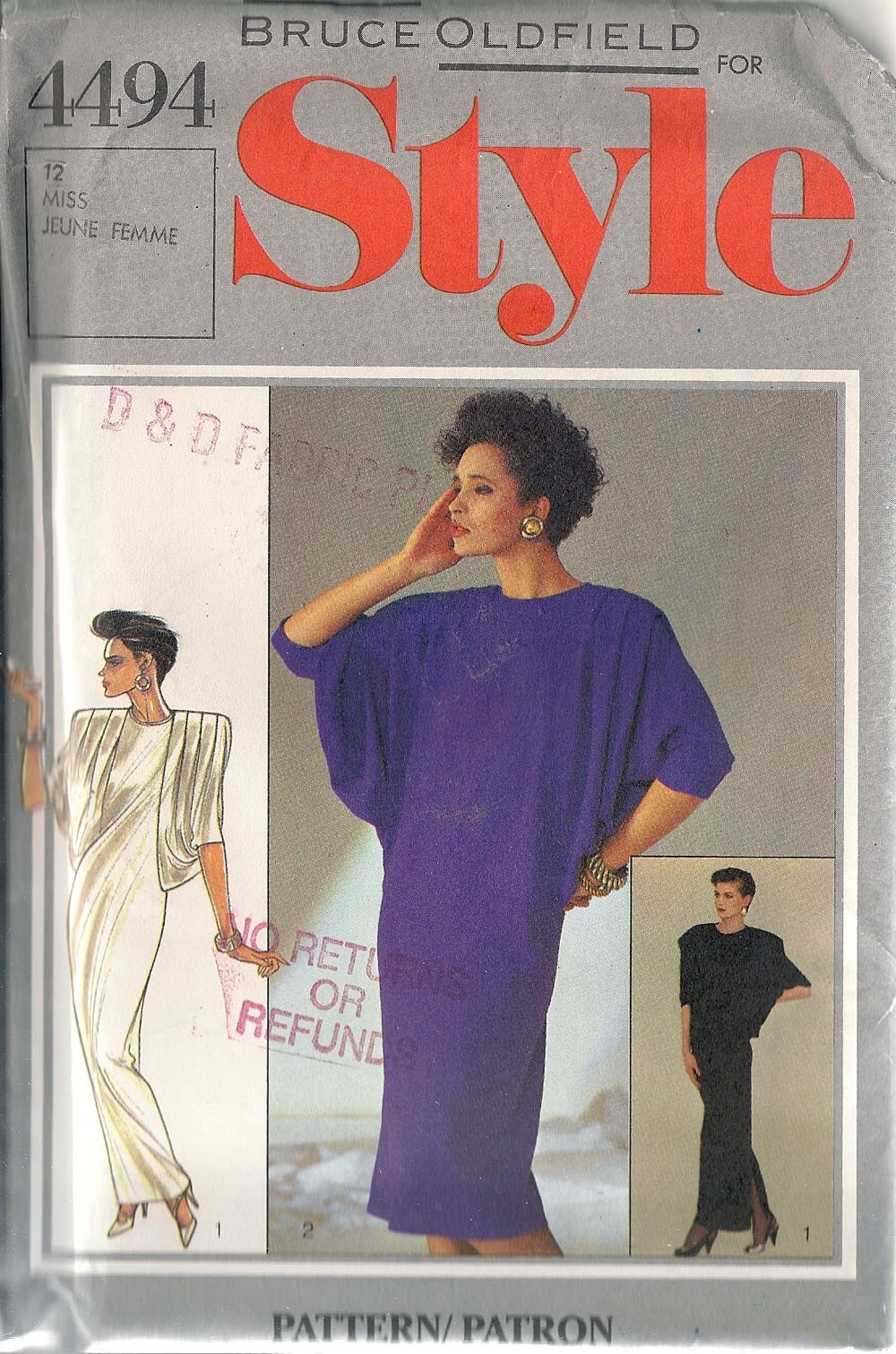 1980s Bruce Oldfield dress pattern Style 4494