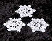 Set of Three Lace Snowflakes (White)