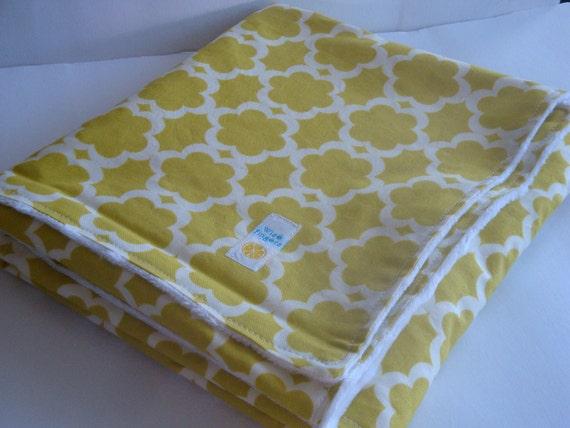 """Baby Cute Kumari Garden Tarika Moss yellow Blanket with minky dot white  ,28"""" x 32"""""""