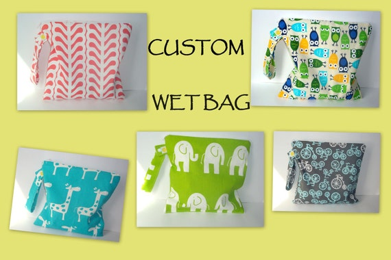 "CUSTOMIZE YOUR OWN Wet bag Waterproof , fabric  diaper zipper pouch , gym sports bag ,Snap handle 10""x 10"""