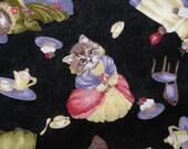 Antique Cat - Black - Cotton Fabric - 1 Yard