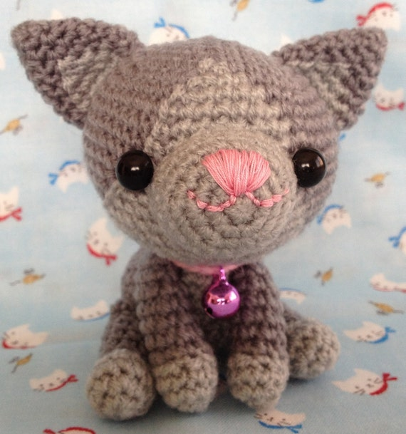 Cat - Russian Blue - Handmade Crocheted