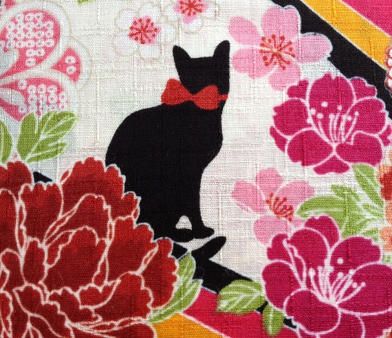 Black Cats in Peonies - White - Cotton Fabric - 1/2 Yard