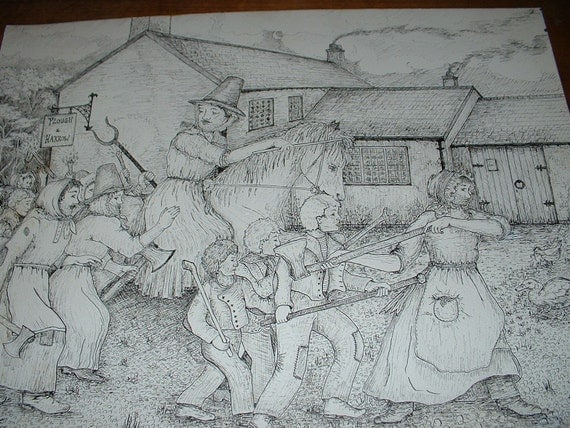 Welsh History Rebecca Riots- Photocopy of Ink Sketch