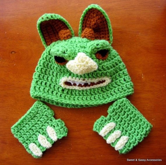 Little Monster - Crochet Beanie Hat and Hand Mitts