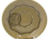 Illustrated Cupcake Plate, Hand Drawn Mustard coloured. FURTHER REDUCTION