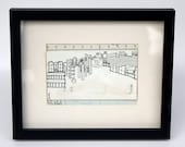 Framed drawing on up-cycled envelope, featuring The Barbican