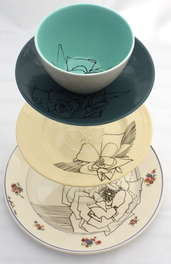 Illustrated Cake Stand, 3 Tier, English Rose SALE