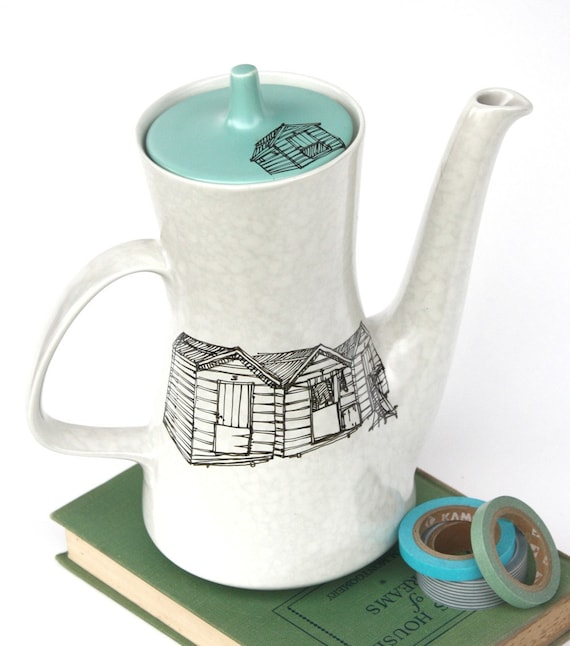 Reserved for Amity Poole Pottery Tea Pot, Seaside Beach Hut