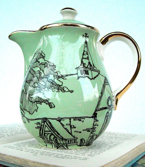 Yew Tree Winter Scene Up-cycled Hot Water Pot