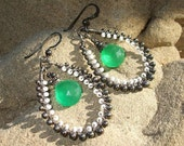 Apple Green Quartz Gemstone wire wrapped Oxidized Sterling Silver Earrings