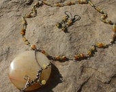 Autumn Sunset - Yellow Jade Gemstones, Oxidized Sterling Silver Necklace-Earrings Set- Wire work, wire wrapped